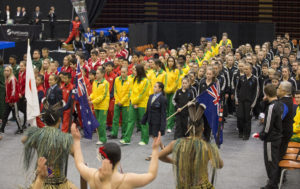 Athletes from South Africa, Canada, Japan, Australia and New Zealand at the 2016 Indo Pacific Championships opening ceremony.